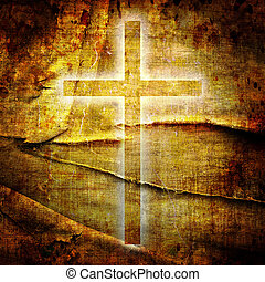 Christianity representation with the symbol of a cross on...