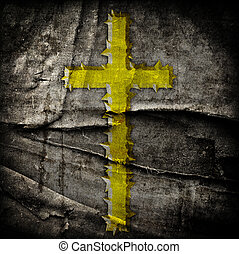cross on abstract grunge background with scratches and...