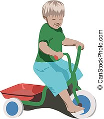 boy with tricycle, vector, no gradient or opacity-effects