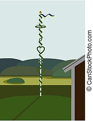 Landscape with midsummer pole in Sweden, vector, no...