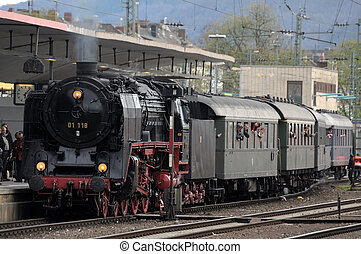 Old steam train at the station in Koblenz, Germany