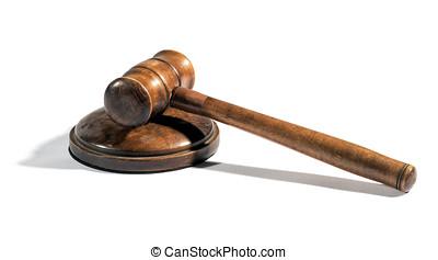 Old wooden judges gavel on a plinth - Old wooden judges...