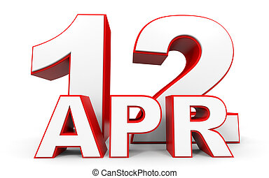 April 12. 3d text on white background. Illustration.