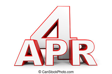 April 4. 3d text on white background. Illustration.