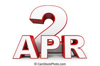 April 2. 3d text on white background. Illustration.
