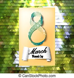 Greeting card for 8 March with banner and symbol of green ribbon. International Women's Day. Polygonal vector design