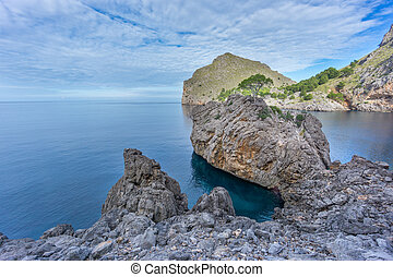 Beautiful view of Mediterranean sea in Sa Calobra, Majorca -...