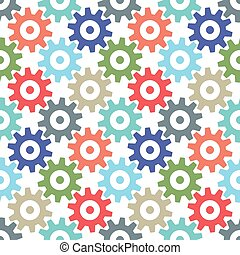 Gear wheels seamless pattern - Multicolor gear wheels...