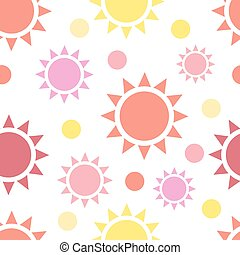 Multicolor suns seamless pattern