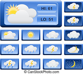 Icons for weather report. Vector illustration