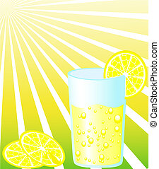 Glass of lemonade with slice of lemon