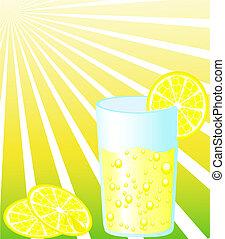 Glass of lemonade with slice of lemon on and sun on...