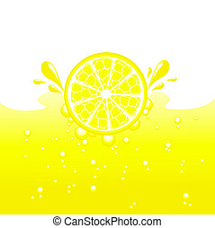 Lemon falling into the lemonade, vector illustration