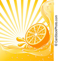 Orange background with a sun.
