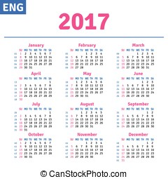 English calendar 2017, horizontal calendar grid, vector
