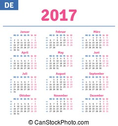 German calendar 2017, horizontal calendar grid, vector