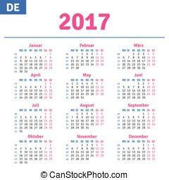 German calendar 2017, horizontal calendar grid, vector