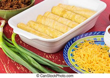 queso, picante, mexicano, carne de vaca, Enchiladas,...