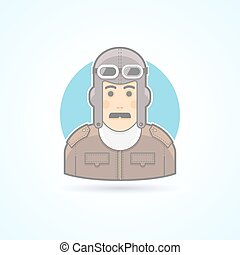 Vintage pilot man, airman outfit example icon. Avatar and...