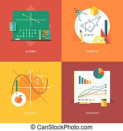 Set of flat design illustration concepts for algebra,...
