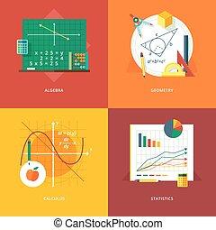 Set of flat design illustration concepts for algebra,...