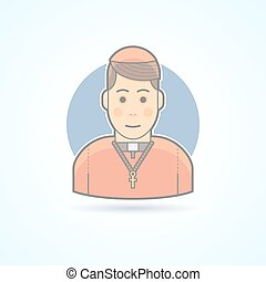 Catholic priest, clergyman in a cassock icon Avatar and...