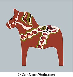 swedish wooden horse - Swedish wooden horse painted in...