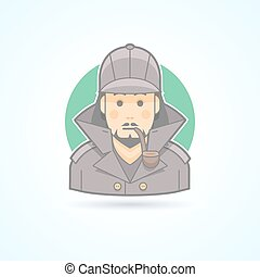 Detective, Sherlock Holmes, snoop icon. Avatar and person...