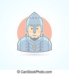 Knight in armor, middle age warrior icon. Avatar and person illustration. Flat colored outlined style.