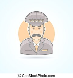 Taxi driver, cabbie icon Avatar and person illustration Flat...