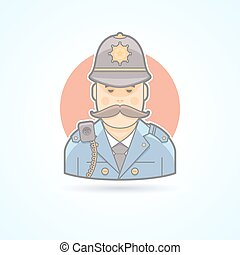 English policeman, british bobby icon. Avatar and person...