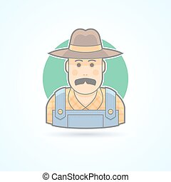 Farmer in an overalls and a hat, village man icon. Avatar...