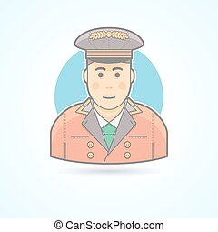 Hotel porter man, doorman service guy icon. Avatar and person illustration. Flat colored outlined style.