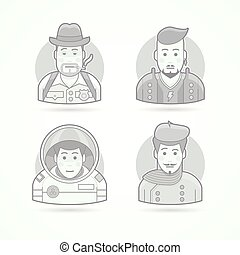 Detective, rock star, astronaut, artist icons. Set of character portrait vector illustrations. Flat black and white outlined style.