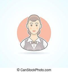 Waitress, nippy, restaurant servicewoman icon. Avatar and...