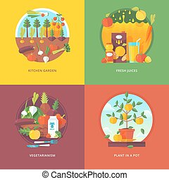 Set of flat design illustration concepts for kitchen garden,...