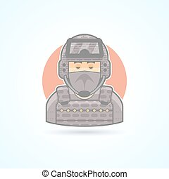 Special Forces soldier, commando. officer icon. Avatar and person illustration. Flat colored outlined style.