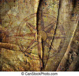 Old compass on paper background - Old compass on canvas...