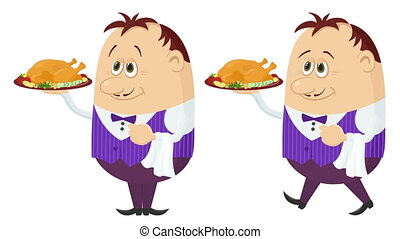 Waiter with Turkey, Seamless Loop - Fullhd 1920x1080...
