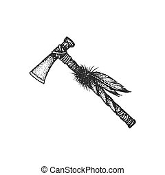 hand drawn indian tomahawk vintage illustration - vector...