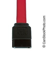 SATA connector and red cable isolated on white