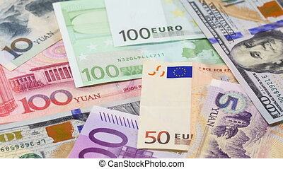 Main word currency Yuan, US Dollar and Euro bank notes...