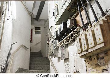 Hong Kong Tenement House Stairs - HONG KONG, CHINA - 24 FEB...