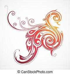 Fire bird as peacock - Decorative fire bird as mystical...