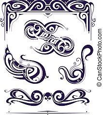 Set of retro elements in Art Nouveau style - Art Nouveau...