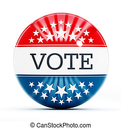 Vote button with USA flag colors isolated on white...