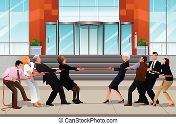Business people in a Tug of War - A vector illustration of...