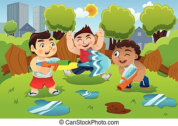 Kids Playing Water Gun