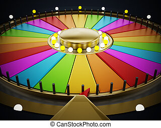 Prize wheel with empty slices on black background