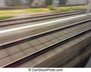 rails of railway train - tracks and rails out in movement...